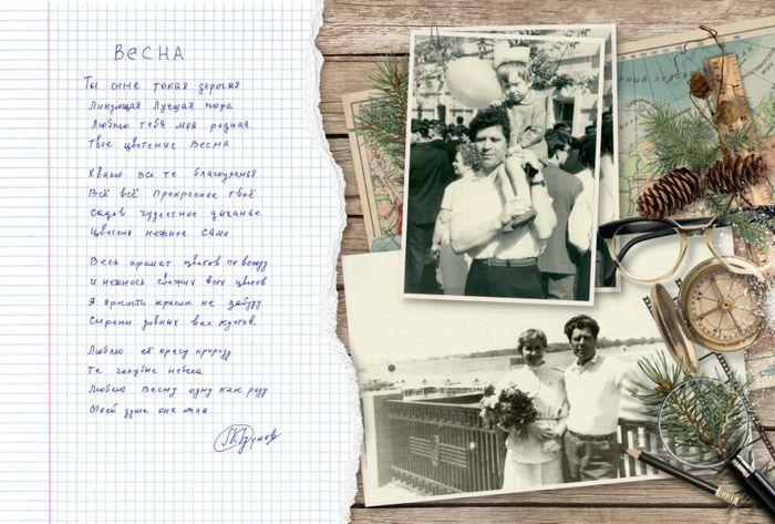 разворот 5 ретро-фотокниги для дедушки